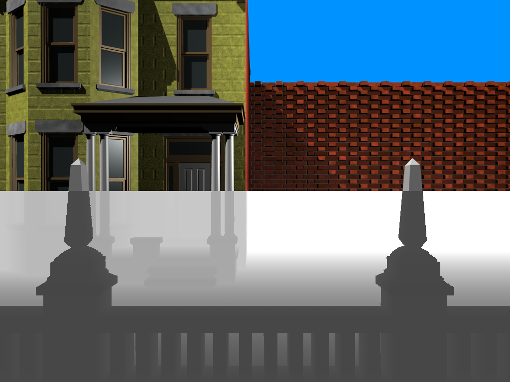 Upper part: The rendered image, lower part: the depth image